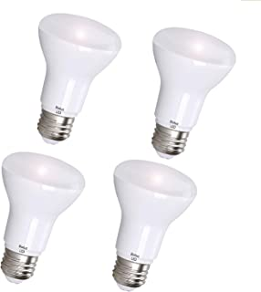 R20 LED Bulbs by Bioluz LED BR20 LED Bulbs (50W Replacement) 2700K Bright Warm White 550 Lumen Smooth Dimmable Flood Lamp - Indoor/Outdoor UL Listed (Pack of 4)