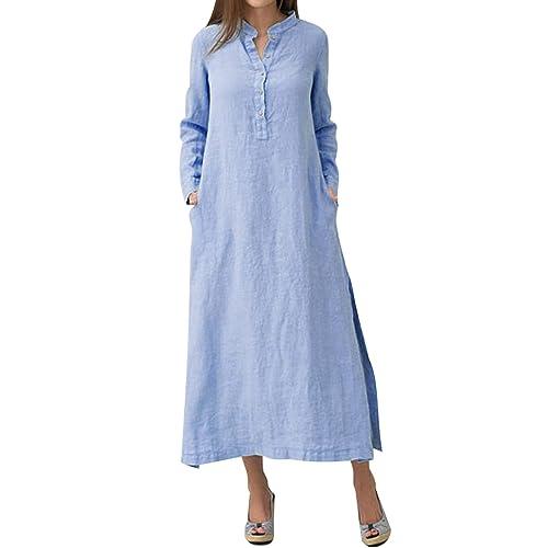 7809dd90d5 MAGIMODAC Maxi Linen Shirt Dress Blouse Casual Summer Cotton Dresses UK 6 8  10 12 14