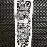 HXMAN 3 Unids Negro Brazo Completo De Agua Transfer Tatuaje Pegatinas Mujeres Hombres Cuerpo Arte Piernas Temporal Tatuaje Paste Gqb-008 Grande Falso Tatoo Robot Brazo GQB017