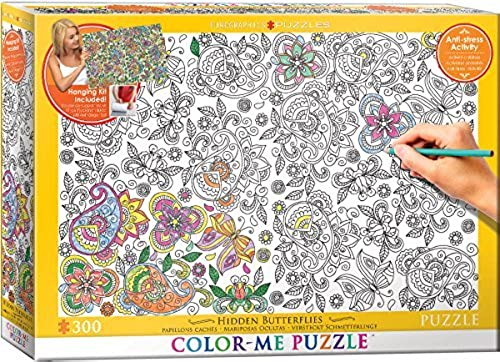 EuroGraphics Hidden Butterflies Farbe Me Puzzle (300 Piece) by EuroGraphics