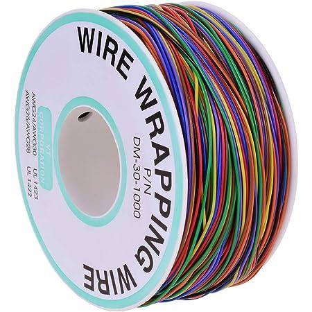pour r/éparations sur circuits imprim/és A00048 Fil de wrapping ou c/âblage en /étain plaqu/é cuivre AWG 30 jaune Saim 200/m P//N B-30-1000