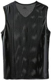 Romancly メンズストレッチアスレチック通気性メッシュVネックタンク筋肉Tシャツタンク