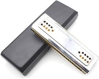 Andoer® Cisne 2-en-1 de doble cara Tremolo Harmónica Órgano de boca Dural clave de C & G 24 Hoyos Dobles Reed Instrumento de Viento con Caja Acolchada Paño de Limpieza