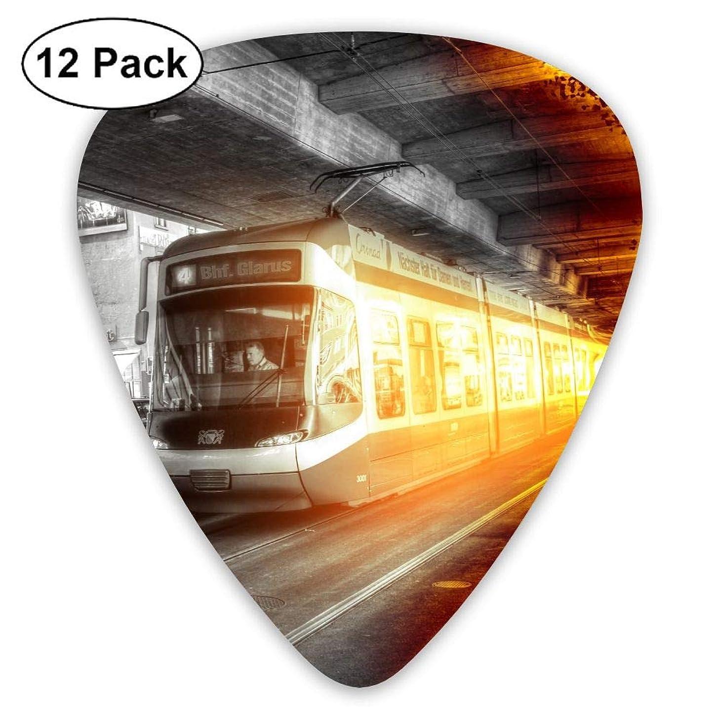 12-pack Fashion Classic Electric Guitar Picks Plectrums Train Station Instrument Standard Bass Guitarist