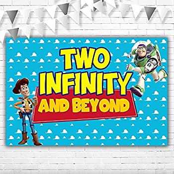 Toy Story 2 Infinity and Beyond Backdrop 5x3ft Vinyl Toy Story Cloud Background for Boy Second Birthday Buzz Lightyear with Cowboy Woody Backdrops for Kids 2 Years Old