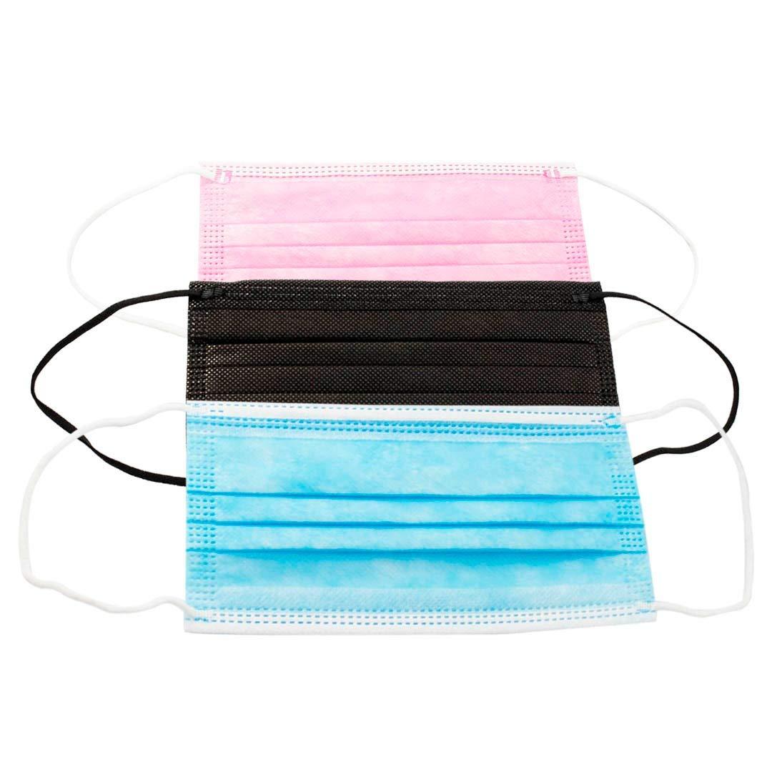 Mascarillas Higiénicas ADULTOS Colores, 3 Capas Desechables, Pack de 20 Unidades Rosas, 20 Negras, 20 Azules(C5)