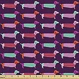 Ambesonne Dachshund Fabric by The Yard,...