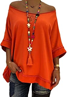 MK988 Womens Shoulder Off Shirt Loose Half Sleeve Solid Color Casual Tee Shirts Blouse