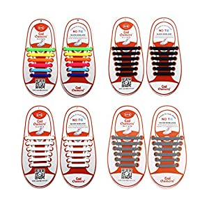 Oumers 4 Pairs No Tie Shoelaces for Kids, Lazy Tieless Silicone Shoelaces Rubber Sneaker Shoelaces, Great
