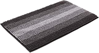 28x18 Inch Bath Rugs Made of 100% Polyester Extra Soft and Non Slip Bathroom Mats Specialized in Machine Washable and Water Absorbent Shower Mat,Black