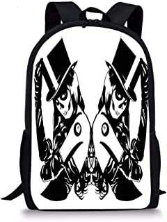 Goloingm Symmetrical Design of Sugar Skull Girls with Billiard Ball Lucky Tattoo with Hat Students School Backpack Print Boys Bookbag for Travel