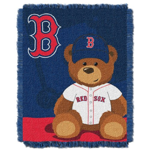 The Northwest Company MLB Boston Red Sox Field Bear Woven Jacquard Baby Throw Boston Red Sox Center