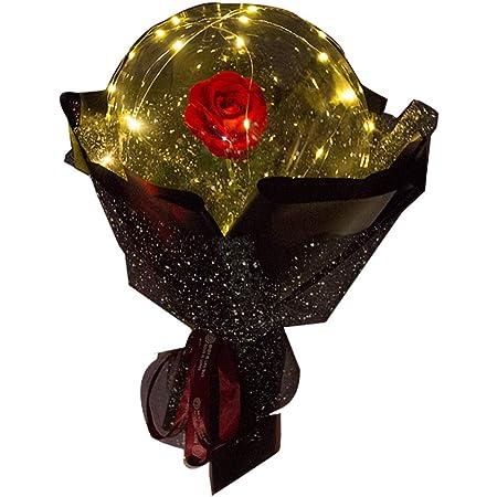 Valentinstag M/ädchen Geburtstag Hochzeitsfeier Dekoration Geschenk Luftballons A Transparenter Ballon mit Rosenbl/üte Weihnachten Homemarke LED Luminous Balloon Rose Bouquet