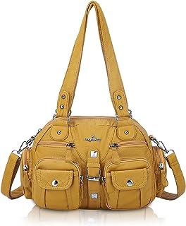 Angel Kiss Damen Handtasche tasche damen Umhängetasche 2 hauptfächer Multifunktionale Rucksack Weiches PU Leder mit Reißve...