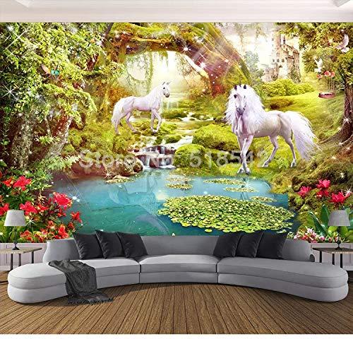 Fotomural 3D personalizado para pared (400 x 280 cm), diseño de caballo blanco y paisaje