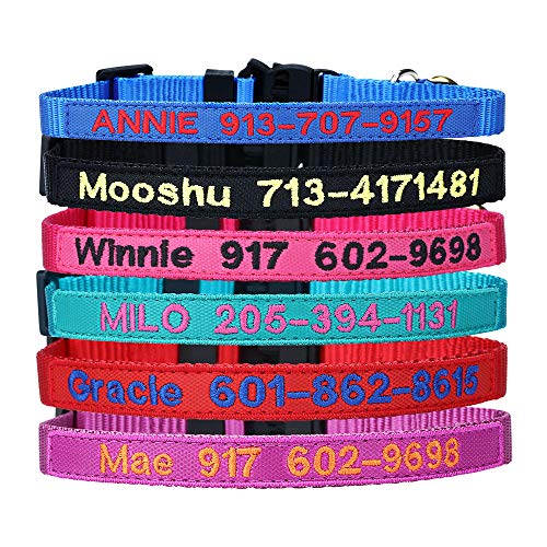 Cat Collar Break Away with Bell - Custom Embroidered Text ID Collars with Pet Name and Phone Number