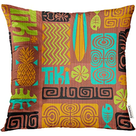 Emvency Decorative Throw Pillow Case Cushion Cover Colorful Plumeria Exotic Tiki Pattern Abstract Ethnic Fish Flower Hawaii Hawaiian 20x20 Inch Cases Square Pillowcases Covers Two Sides Print Home Kitchen
