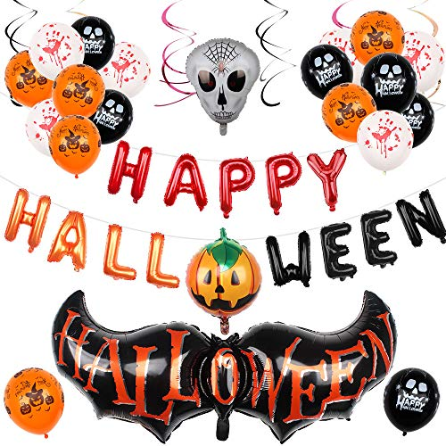 Heqishun 44 Pcs Halloween Balloon Decoration Set, Happy Halloween Balloons Garland Kit, Halloween Halloween Latex and Mylar Foil Balloon Party Supplies