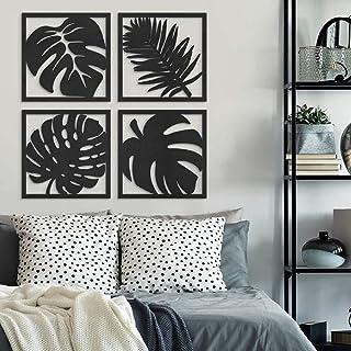 300Sparkles Leaf Design Wooden Wall Decor Hanging Frame 4 Pcs. Set,Home, Bedroom, Living Area ,Office, Cafe ,Wall Art Deco...