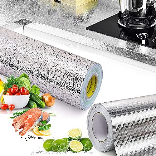 Papel De Aluminio Autoadhesivo, Senteen 2pcs Pegatinas De Cocina Para Los Armarios Papel Pintado Cocinas Lavable Papel Tapiz De Cocina Decorar Impermeables Muebles De Cocina,Para Cocina Armario Cajón