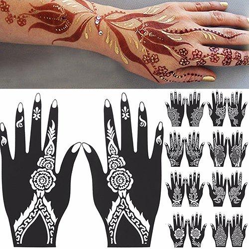 Sanwood –-Hand Tattoo Aufkleber, 2PCS Henna Schablone temporäre Hand Tattoo Body Arts Aufkleber Vorlage Tools, PVC, weiß / schwarz, 106