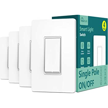 Single Pole Treatlife Smart Light Switch (Neutral Wire Required), 2.4Ghz Wi-Fi Light Switch, Works with Alexa and Google Assistant, Schedule, Remote Control, ETL Listed (4 Pack)