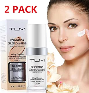 TLM colour changing foundation,TLM foundation,Flawless Colour Changing Warm Skin Tone Foundation Makeup,Base Nude Face Moisturizing Liquid Cover Concealer for Women And Girls-2pack