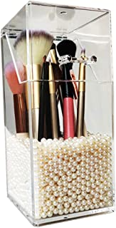 Makeup Brush Holder,Cosmetic Brush Organizer with Lid,Dustproof Makeup Brush with Free Pearls