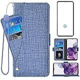 Asuwish Compatible con Samsung Galaxy S20 Plus Glaxay S20+ 5G Funda tipo cartera de cristal templado y protector de pantalla con tapa para tarjetas Gaxaly S20+5G S20plus 20S + S 20 20+ G5 azul
