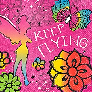 """amscan Disney Tinker Bell - Keep Flying Luncheon Napkins Birthday Party Tableware Supply (16 Pack), Multi Color, 6.5"""" x 6.5""""."""
