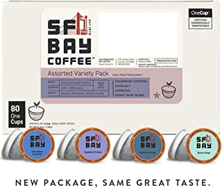 SF Bay Coffee OneCup Variety Pack Compostable Coffee Pods, 80 Pods (Packaging May Vary)