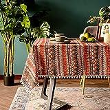 Lanqinglv Bohemian Tischdecke 140x180cm mit Quaste Baumwolle und Leinen Abwaschbar Rot Bunt Indisch Vintage Rechteckig Gartentischdecke Küchentischabdeckung für Speisetisch