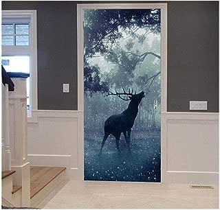 3D Door Stickers Elk Deer Forest Dusk Psychedelic Nature Scenery Decals Living Room Bedroom PVC Self Adhesive Wallpaper Waterproof Wall Art Kitchen Restaurant Decor Mural,90X210Cm