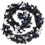 WeRChristmas Guirlande de Noël décorée Imitation épicéa avec 40LED Blanc Froid, Noir/Argenté