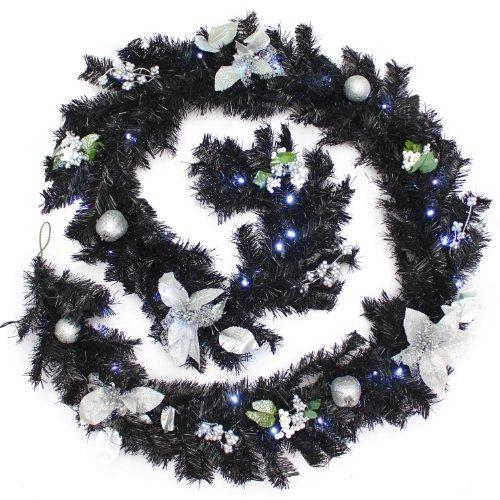 WeRChristmas Guirlande de Noël décorée Imitation épicéa avec 40 LED Blanc Froid, Noir/Argenté