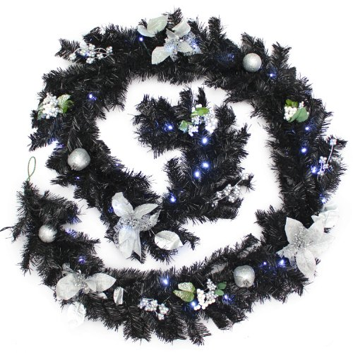 WeRChristmas Pre-Lit Decorated Garland, 40 Ice White LED Lights, Black & Silver, 9 ft / 2.7 m, Fabric, Black/Silver