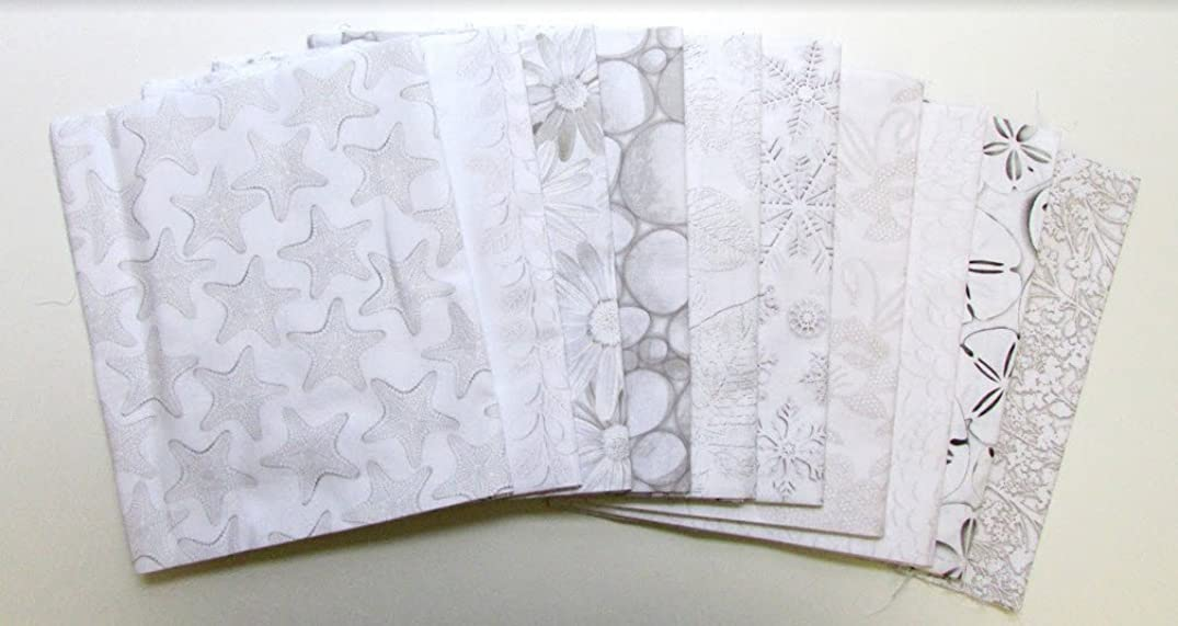 White Out Grey with Tan Tones Collection 10 pc Cotton Fabric Quilting FQs Assortment by Benartex Studio