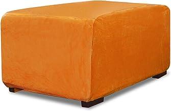Argstar Velvet Ottoman Cover for Living Room, Stretch Rectangle Ottoman Slipcover, Elastic Footstool Slipcover, Ottoman Pr...