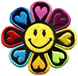 Flower Power Smiley Face Boho Hippie Retro Love Applique Iron-on Patch New S-694 Handmade Fast Shipping