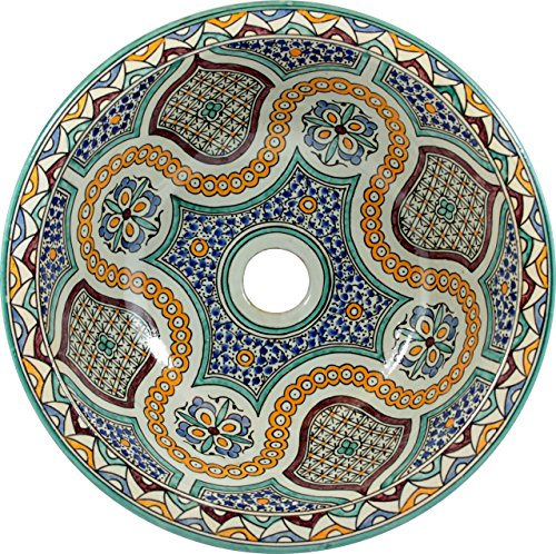 zanya – Marocaine lavabo en céramique, DESIGN ART peint à la main rustique vintage lavabo...