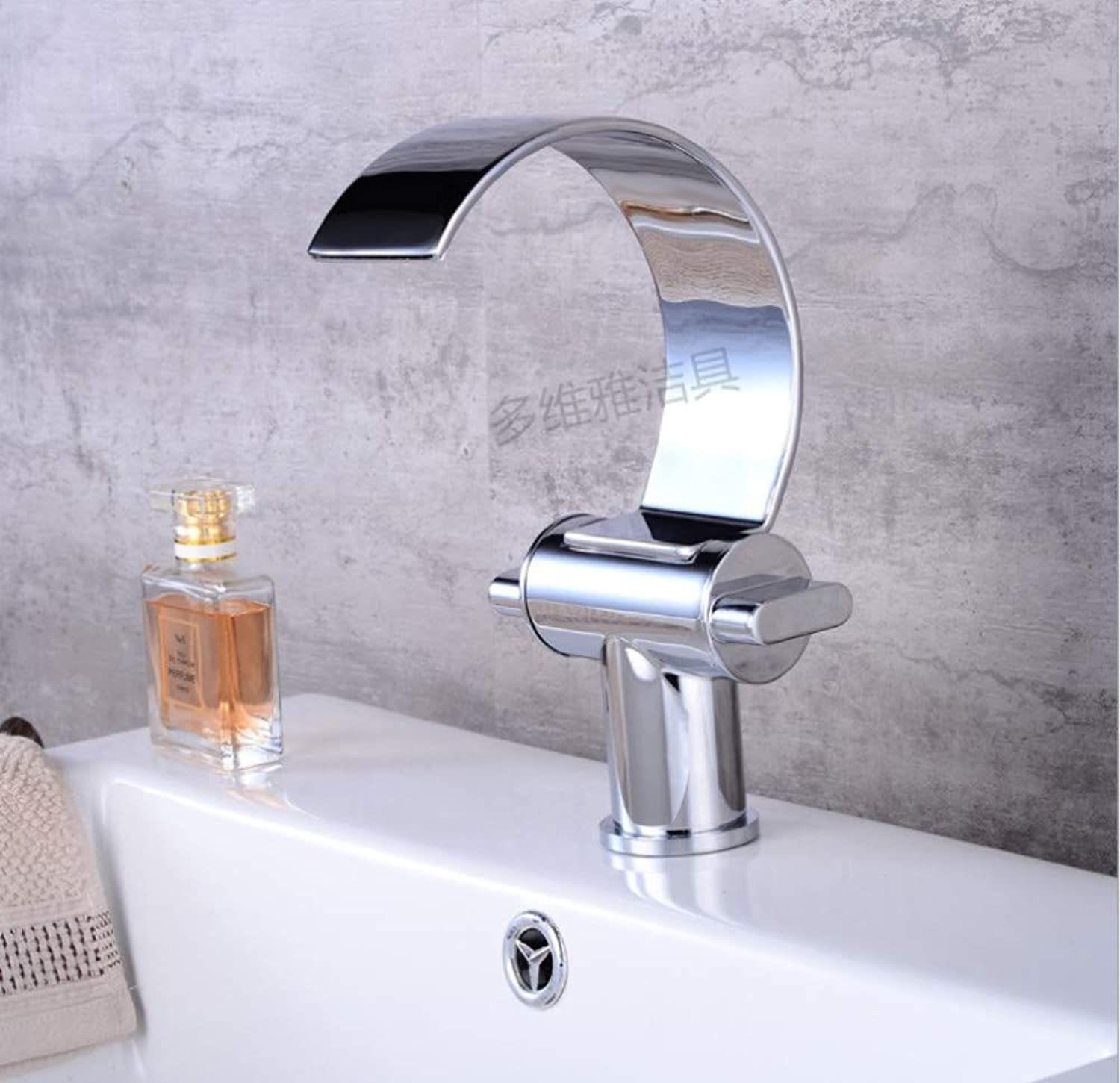 redOOY Basin Faucet Cold and Hot Water Waterfall Bathroom Faucet Single handle Basin Mixer Tap Deck Mount