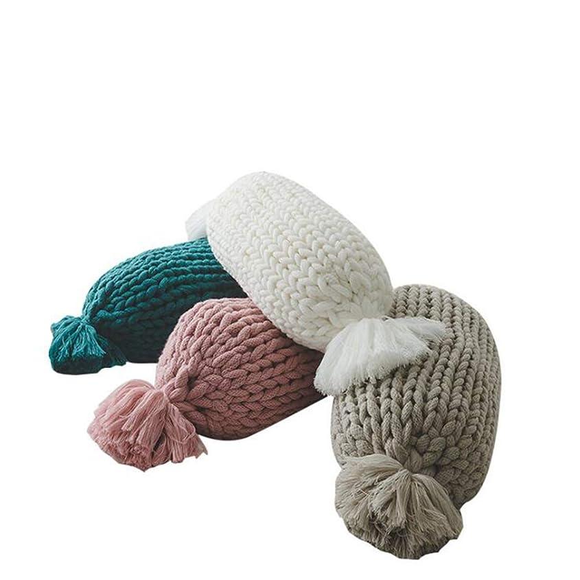 ポインタ含意組み込むJtydj 手織りの装飾Supersoftリネンのクッションは、ソファのベッドルームカーソファのための広場スクエア投げるカバーをカバー (色 : ピンク, サイズ : Candy)