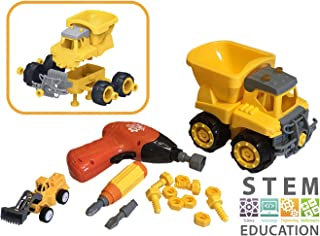 Dump Truck Construction Stem Toys for 4-5 Year Old Boys & Girls - STEM Educational Toys Construction Vehicles for 3 4 5 Year Olds - Electric Toy Tools, Gifts 4 Girl & Boy Toys