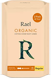 Rael Certified Organic Cotton Panty Liners, Regular - Unscented Pantiliners - Natural Daily Pantyliners, 6 ...