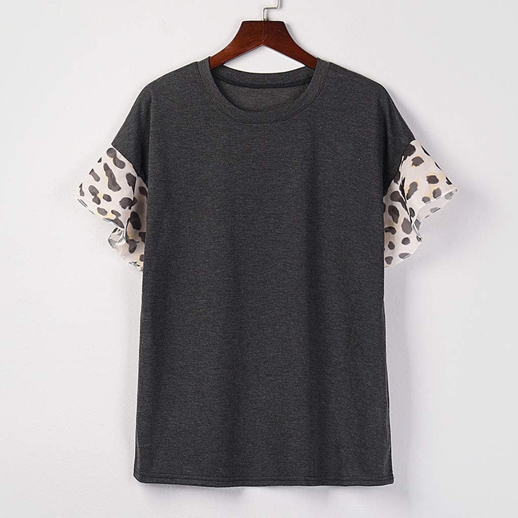 Womens Short Sleeve T-Shirt Casual Leopard Print Splicing O-Neck Fashion Loose Tee Blouse Crop Tops