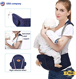 Baby Hip Seat Carrier Waist Stool for Infant Toddler with Adjustable Back Strain Relief Strap- Safety Certified Soft Baby Front Carrier (Dark Blue)