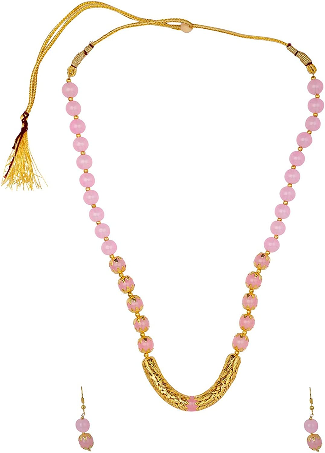 Efulgenz Boho Indian Bollywood Antique Gold Plated Faux Pearl Beaded Bridal Wedding Strand Statement Necklace Earrings Jewelry Set (Color Options)