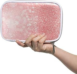Bling Pink Large Pencil Case Multifunction Leather Makeup Brushes Bag Storage Zip Bags