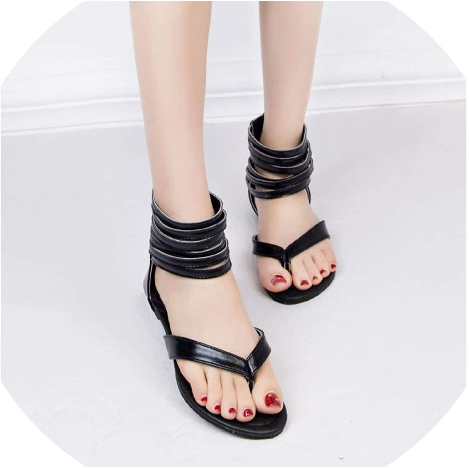 Old street Women Flats Sandals Clip Clop Zipper Woman Summer shoes Woman Beach Daily Footwera