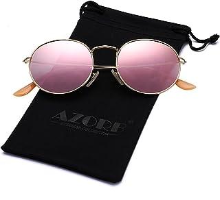 7b879cea4f AZORB Round Clear Lens Glasses Circle Metal Frame Non-Prescription  Eyeglasses for Men Women